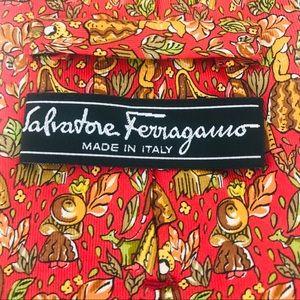Salvatore Ferragamo Silk Tie: Pioneer Life Print